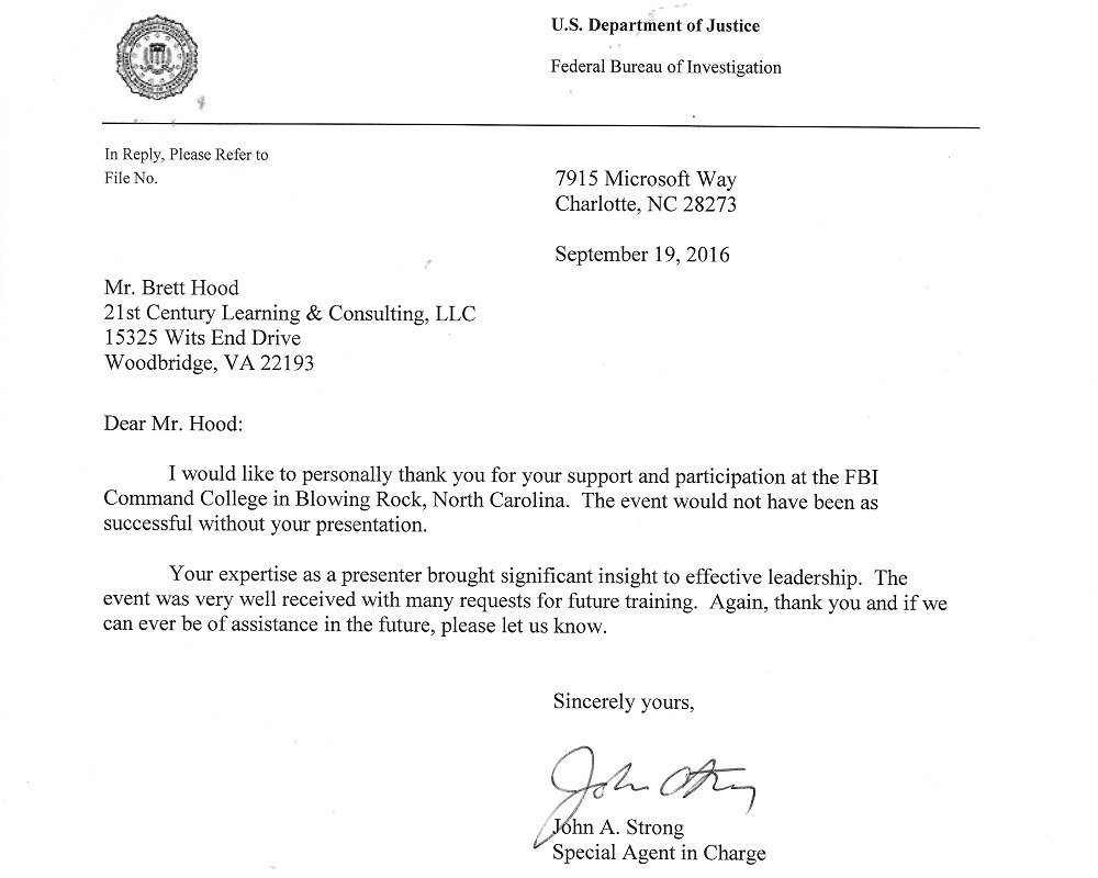 Fbi letter of commendation 21 puzzles i would like to personally thank you for your support and participation at the fbi command college in blowing rock north carolina the event would not expocarfo